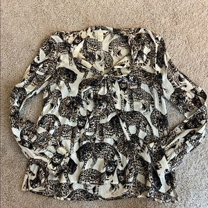 Cheetah blouse with bow